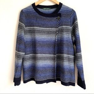 Woolrich criss snap front wool blend blue sweater